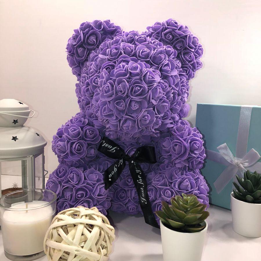 Мишка из роз, 40 см (фиолетовый)