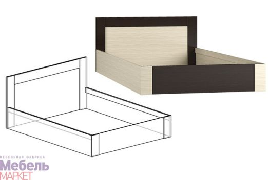 Спальня Берта 1 - Кровать 900 (венге / ясень шимо светлый)