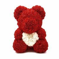 Мишка из роз, 40 см (цвет тёмно-красный с белым сердцем)