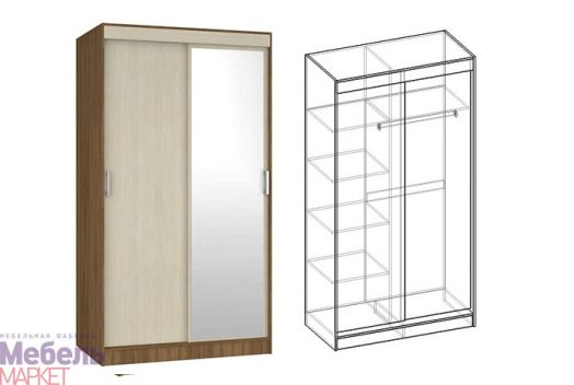 Спальня Светлана - Шкаф-купе 2-х створчатый с 1 зеркалом (ясень шимо)
