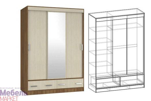Спальня Светлана - Шкаф-купе 3-х створчатый с ящиками 1500 с 1 зерк. (ясень шимо)