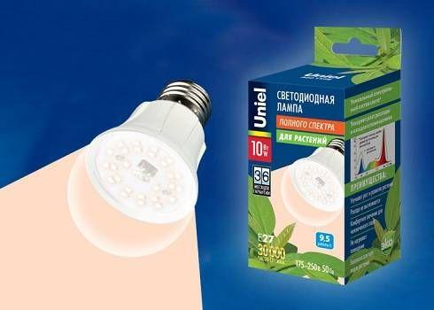 Лампа для растений Uniel 10W LED-A60-10W/SPFR/E27/CL PLP01WH
