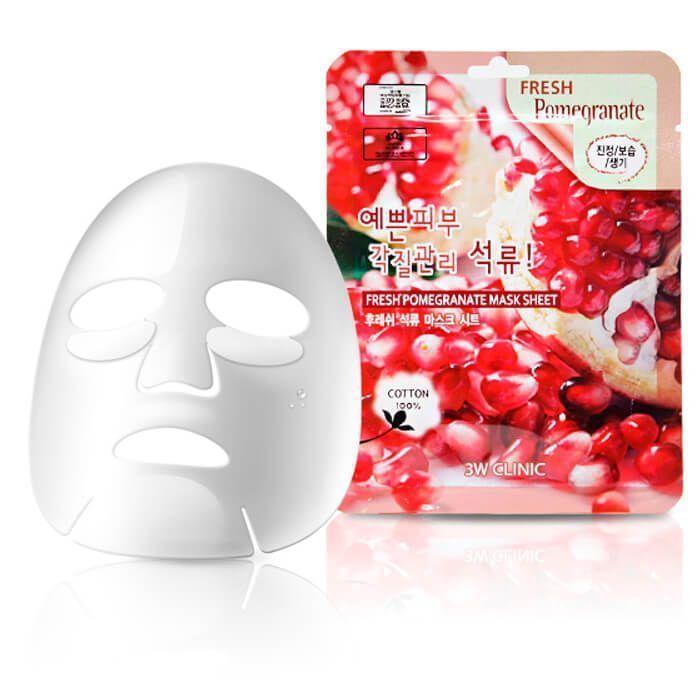 "Тканевая маска для лица ГРАНАТ 3W CLINIC ""Fresh Pomegranate Mask Sheet"""