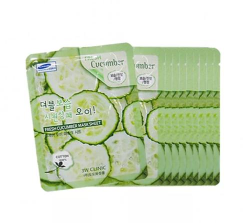 [3W CLINIC] НАБОР/Тканевая маска для лица ОГУРЕЦ Fresh Cucumber Mask Sheet, 10 шт