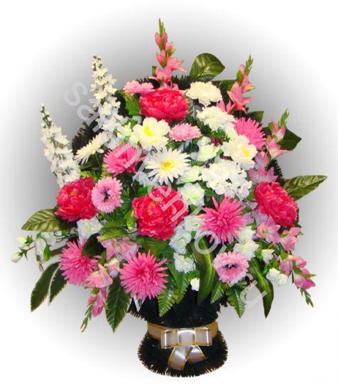Ритуальная корзина из искусственных цветов N13, РАЗМЕР 60см, 80см,90 см