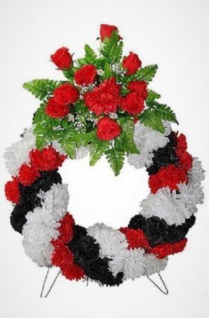 Фото Похоронный венок Колесо №1 из роз, гвоздик, зелени