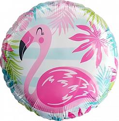 Розовый фламинго шар фольгированный круг с гелием