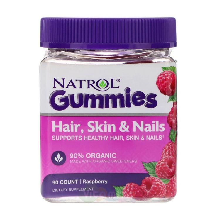 Natrol Gummies Витамины для Кожи, Волос и Ногтей со вкусом Малины, 90 штук