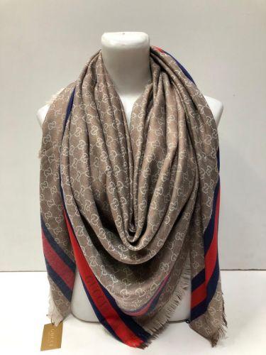 """Платки реплики """"Gucci"""" из шёлка и шерсти 140х140 см LV044"""
