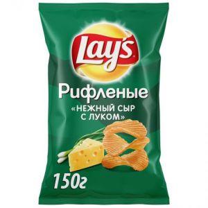 """Чипсы из натурального картофеля Lays рифленые со вкусом """"Нежный сыр с луком"""" 150г"""