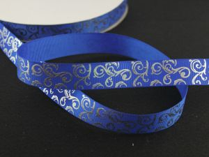`Лента репсовая с рисунком, ширина 22мм цвет: синий, Арт. ЛР5654-20