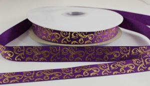 `Лента репсовая с рисунком, ширина 22 мм цвет: фиолетовый, Арт. Р-ЛР5655-13
