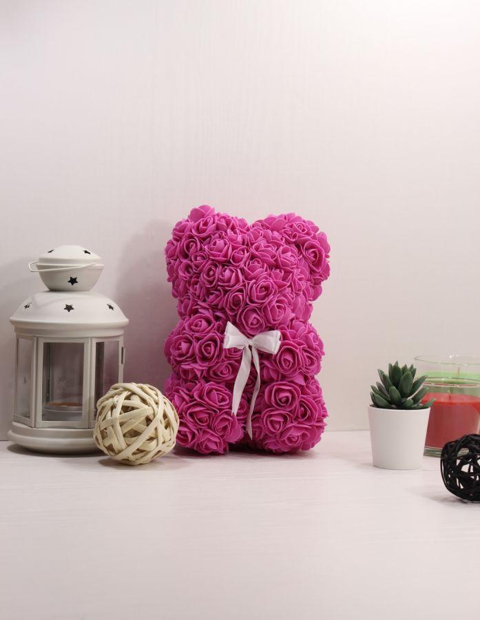 Мишка из роз, 25 см (цвет фуксия)