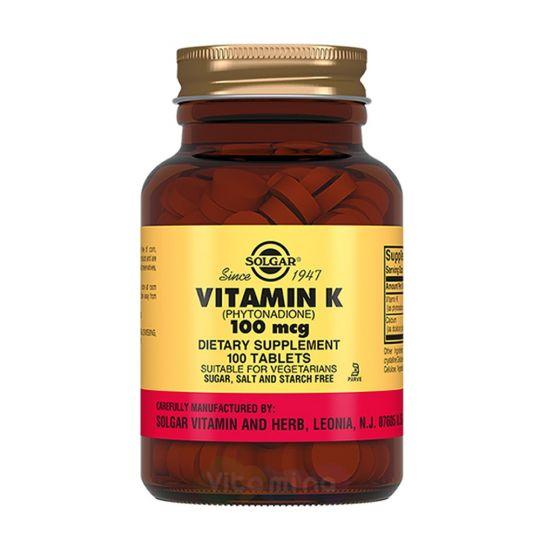Солгар Витамин К 100 мкг, 100 табл.