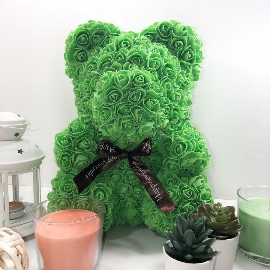 Мишка из роз, 40 см (зелёный)