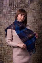 кашемировый шарф (100% драгоценный кашемир) , расцветка  клана  Бьюкенен (синий вариант ) BUCHANAN BLUE TARTAN LUXURY CASHMERE , плотность 7