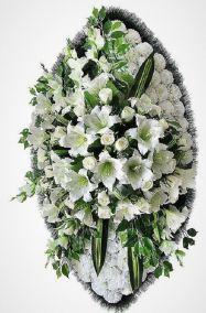 Ритуальный венок из искусственных цветов - Элит #9 белый из лилий, роз, гвоздик и зелени