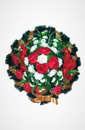 Фото Ритуальный венок Круг бело-красный