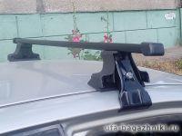 Универсальный багажник на крышу D-Lux 1 на Lada Xray, стальные прямоугольные дуги