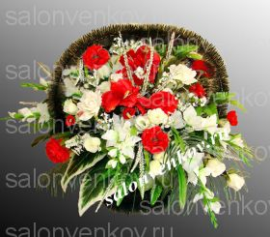 Ритуальная корзина из искусственных цветов N1, РАЗМЕР 60см,80см,90см