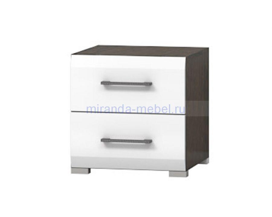 Тумба 2 ящика - Венге/Белый глянец
