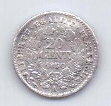 20 сантим 1850 года XF Франция