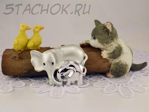 """Брошь """"Мама и слоненок"""" цвет серебра (Danecraft США)"""