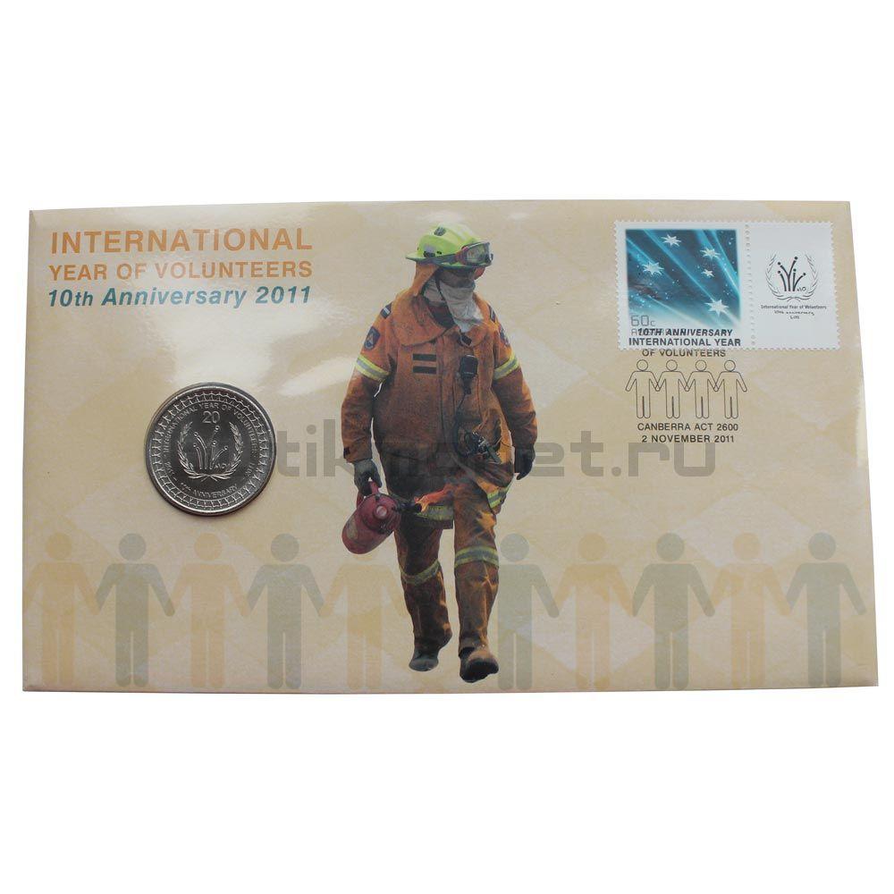 20 центов 2011 Австралия Международный год волонтеров (В буклете)