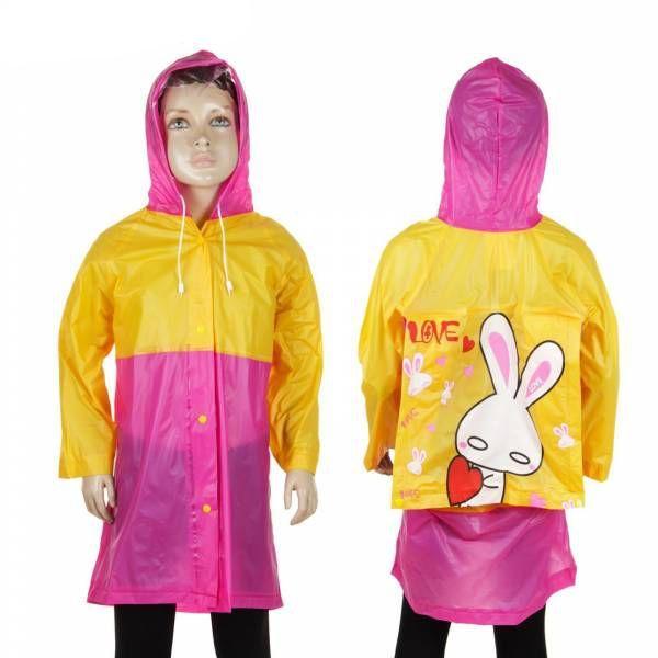 Виниловый Плащ-Дождевик Для Детей С Отделением Для Рюкзака, цвет Желто-Розовый