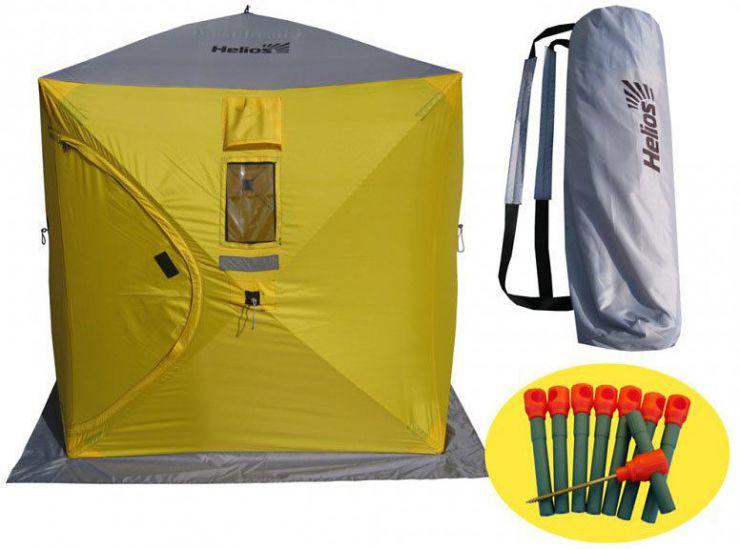 Палатка   зимняя куб Helios 1.8*1.8 (желтый-серый) Тонар