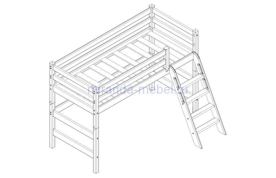 Соня Вариант №6 кровать полувысокая с наклонной лестницей