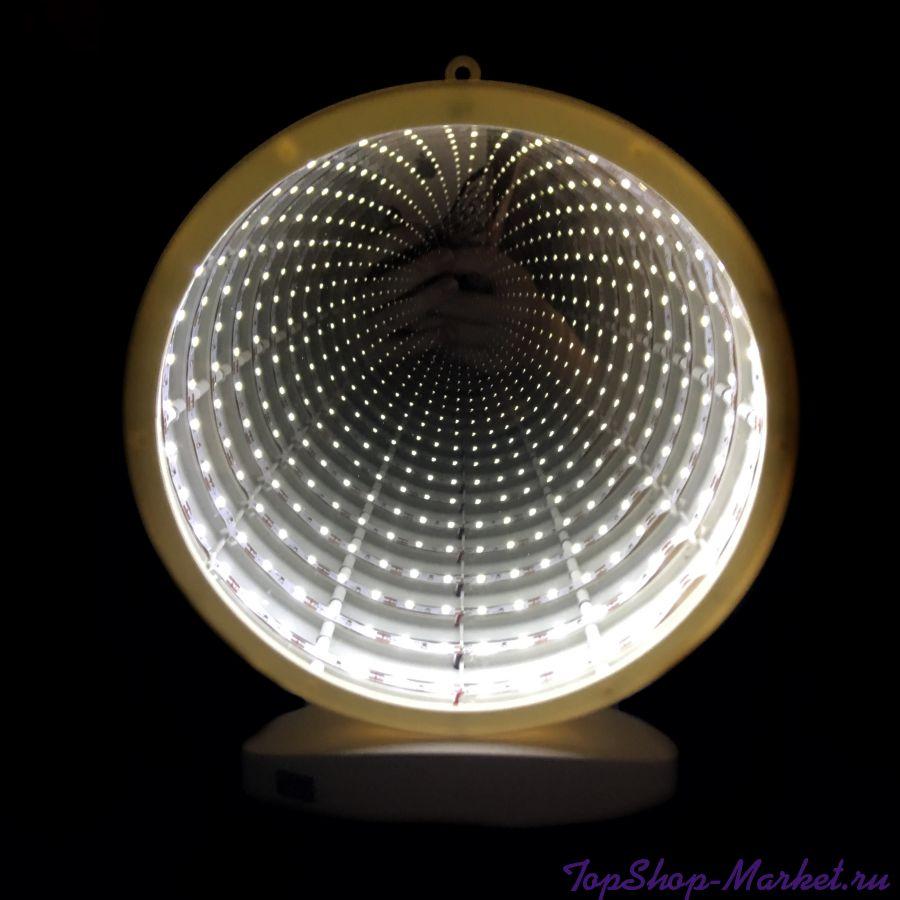 Зеркальный ночник с эффектом бесконечности, Круглой формы