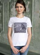 женская белая футболка Сова