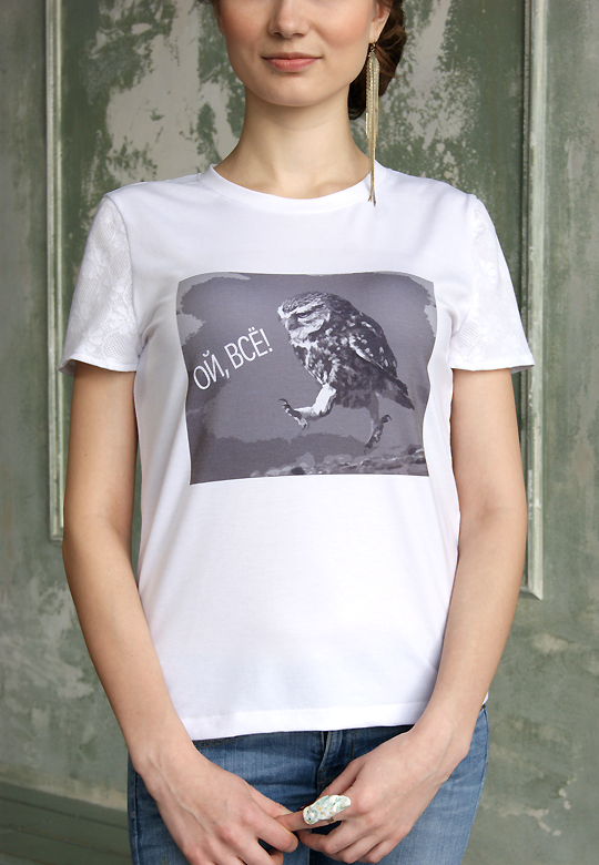 Белая футболка Сова