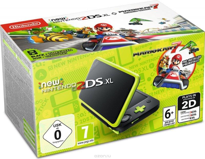 Игровая приставка New Nintendo 2DS XL (Чёрный+Лаймовый) + Mario Kart 7
