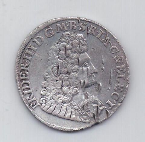 2/3 талера 1692 года Редкий год Бранденбург Пруссия Германия