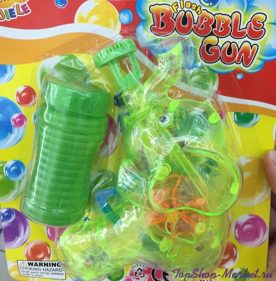 Светящийся пистолет для выдувания мыльных пузырей СЛОНИК