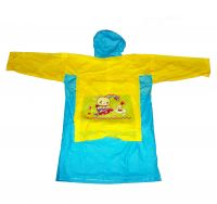 Виниловый плащ-дождевик для детей с отделением для рюкзака, Цвет: Желто-Синий