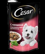 CESAR c говядиной и кроликом в соусе со шпинатом 100г