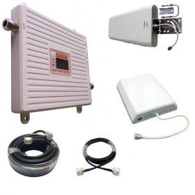 Двухдиапазонный усилитель 3G / 4G (Репитер) сигнала Repeater (2100MHz / 2600MHz) КОМПЛЕКТ С КАБЕЛЕМ И АНТЕННАМИ