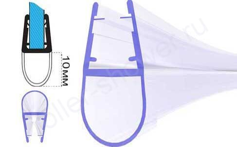 Серия-A Уплотнители для душевых кабин для стекла (4,5,6,8мм) длина 2,2 метра