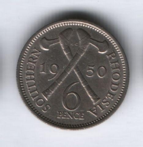 6 пенсов 1950 года Южная Родезия AUNC