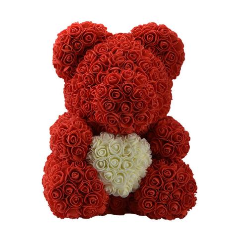 Мишка из роз 40 см с сердцем Красный