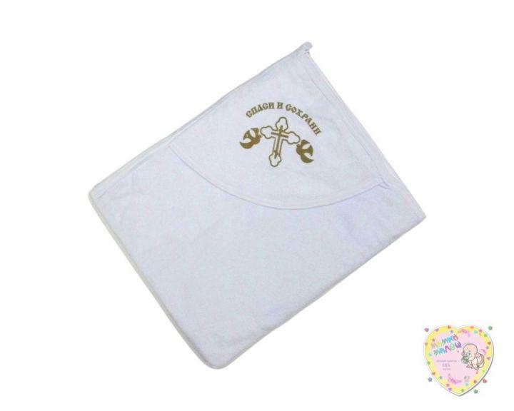 Крестильное полотенце с уголком (махра, крестик)