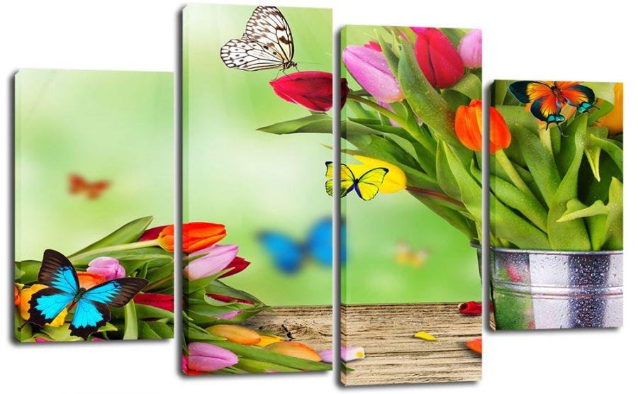 Модульная картина Бабочки в цветах