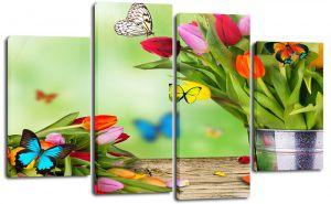Модульная картина Бабочки в цветах купить недорого с доставкой по России.