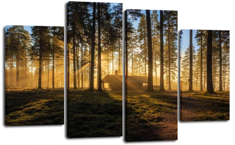 Модульная картина Домик в лесу