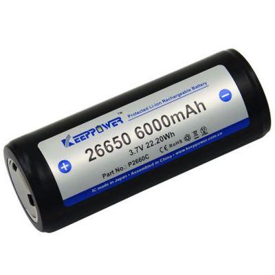 Аккумулятор KeepPower 26650 6000мАч, с защитой