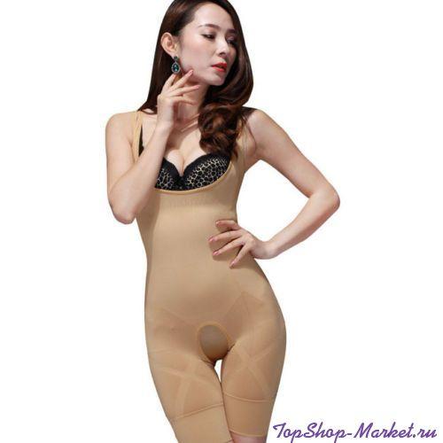 Комбидресс  для коррекции фигуры Slim Shapewear, L-XL, Цвет: Черный