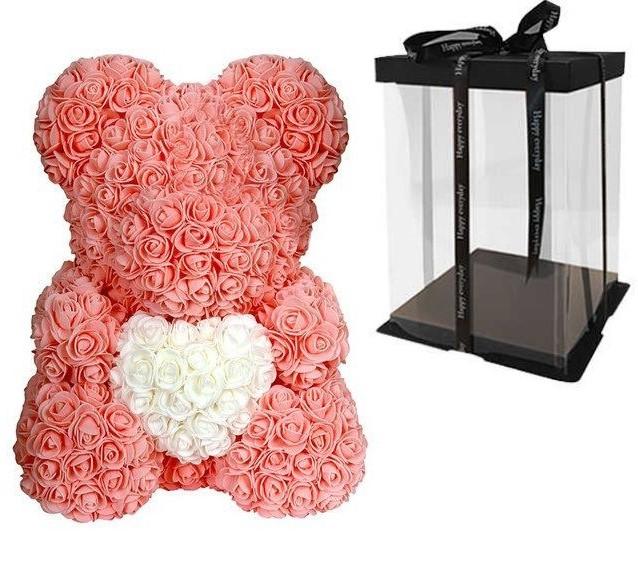 Мишка из роз с сердцем в подарочной коробке, 40 см, персиковый